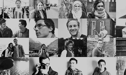 Black and white collage of people
