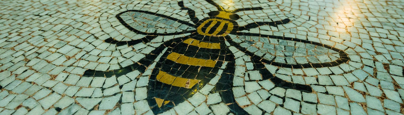 Manchester Bee mosaics in Manchester Town Hall