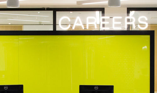 Yellow background with careers sign
