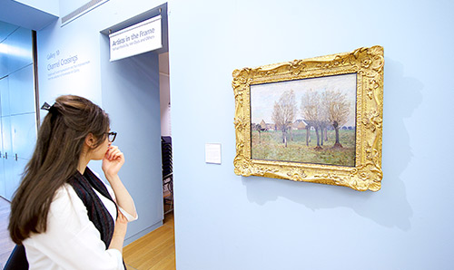 Female looking at picture on wall