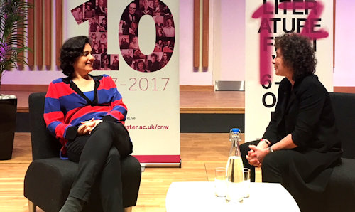 Kamila Shamsie and Jeanette Winterson at Manchester Literature Festival event.