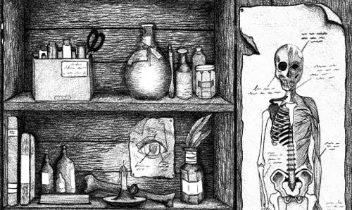 Black and white line drawing illustration of a medicine cabinet