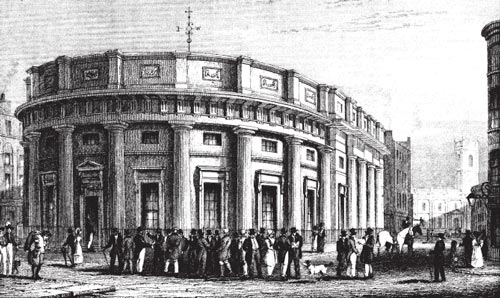 Old drawing of the Cotton Exchange Manchester, 1800s