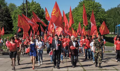 Communist march in Ukraine