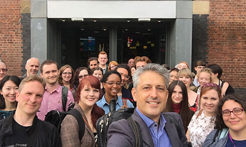 Kostas with students selfie outside MOSI