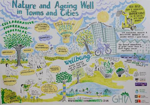 An infographic drawn about nature and ageing well in cities