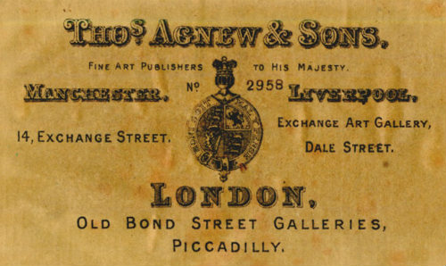 Thos Agnew's and Sons, Manchester, London and Liverpool. Picture Label.