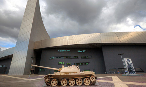 A tank parked outside the IWMN