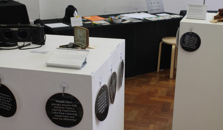 The exhibition included quotes from personal experiences of people with vision and hearing impairment.