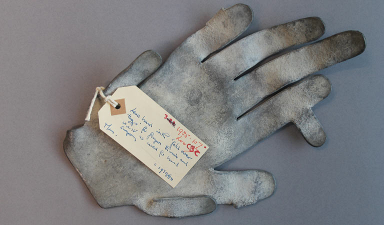 Photograph of the lead hand used in hand surgery.