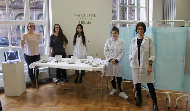 Our students are photographed with more orthopaedic exhibits and examples of early x-rays.