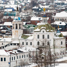 Russian town in the snow
