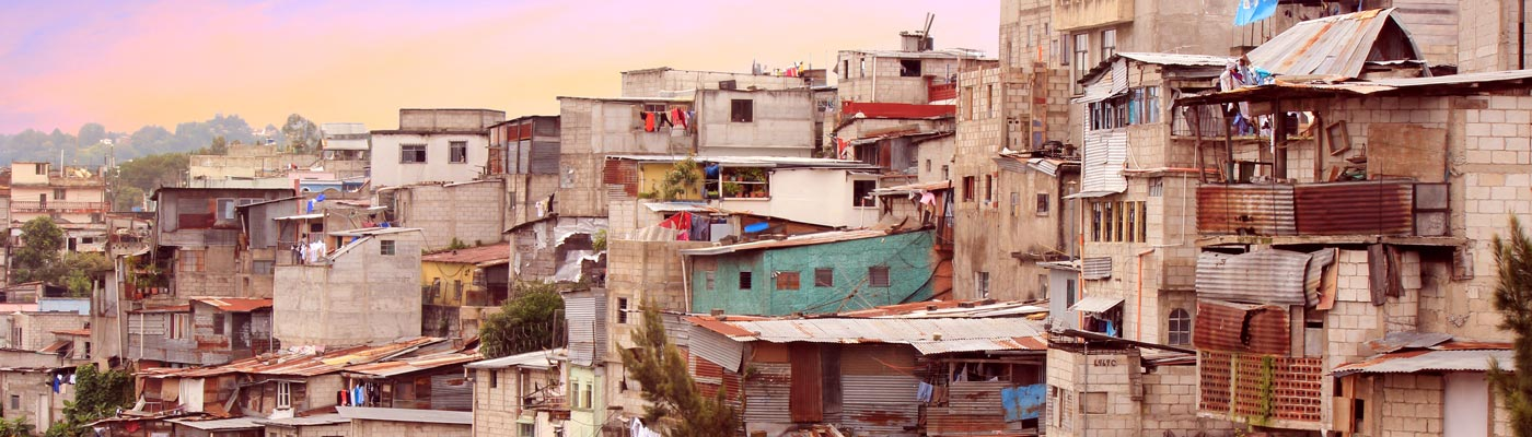 Favelas on a hillside in Guatemala