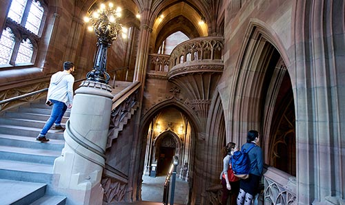 Walking up the steps in John Rylands Library