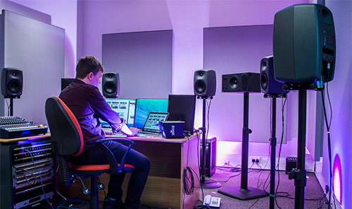 Student in the studio at NOVARS