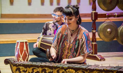 Students in gamelan performance