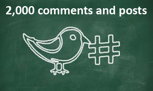 2,000 comments and posts written above chalk picture of bird and hashtag symbol